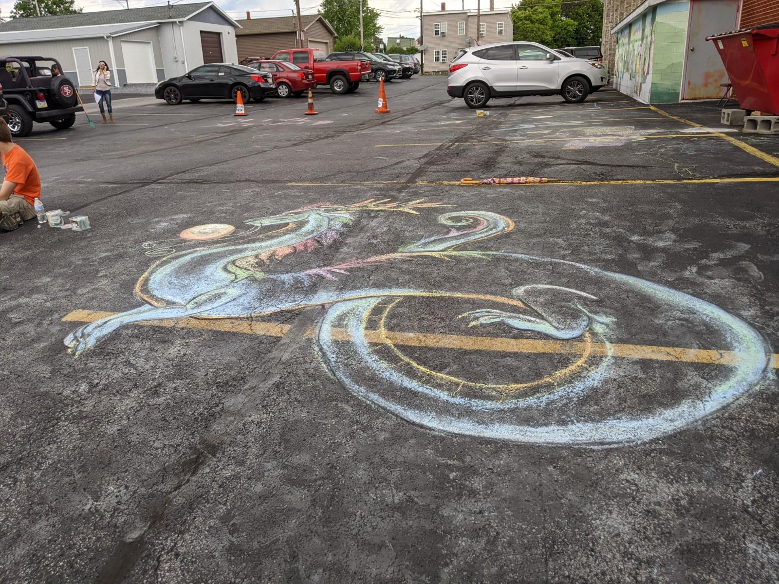 A chalk dragon by Lydia Dimov-Gottshall